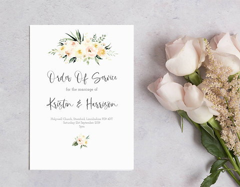 25 x Floral Kristen Order of Service Covers