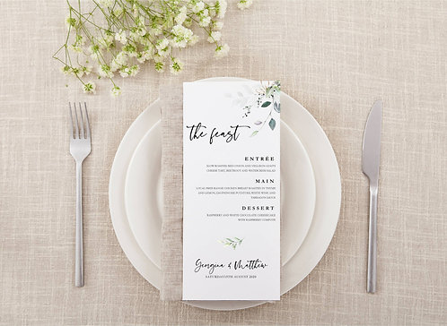 10 x Personalised Menus Botanical Green leaf design 'Georgina'