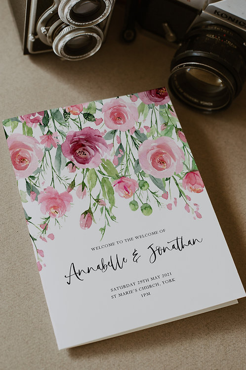 25 x Floral Annabella Order of Service Covers