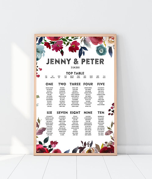 Jenny floral A2 Wedding Seating/Table plan-unframed
