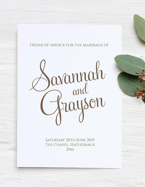 20 x 'Savannah' style Order of Service outer covers - cream or white card