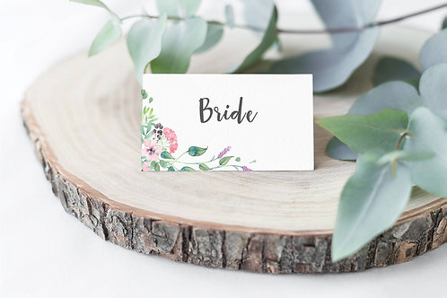 10 x 'Harper' personalised floral Wedding name place settings
