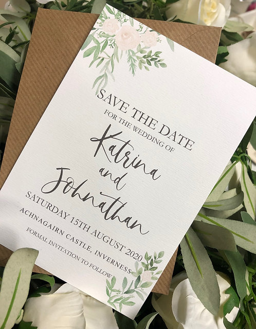 Katrina Floral Wedding Save the date card