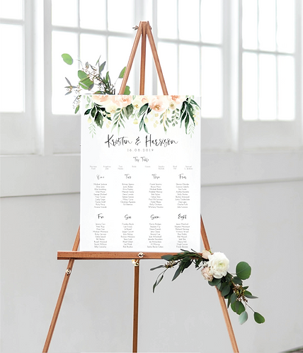 Kristen Floral A1 Wedding Seating/Table plan (no easel)