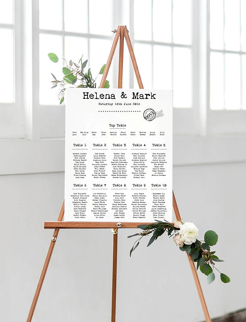 Helenal A2 Wedding Seating/Table plan