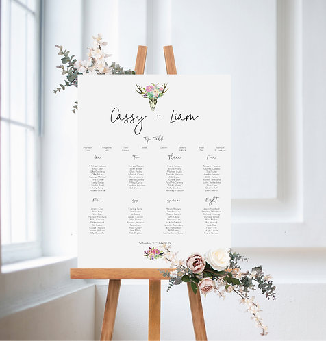 Cassy floral stag A2 Wedding Seating/Table plan