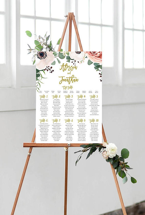 Alessia floral A2 Wedding Seating/Table plan
