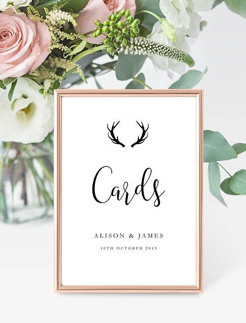 Antler design personalised 'Cards' sign-UNFRAMED