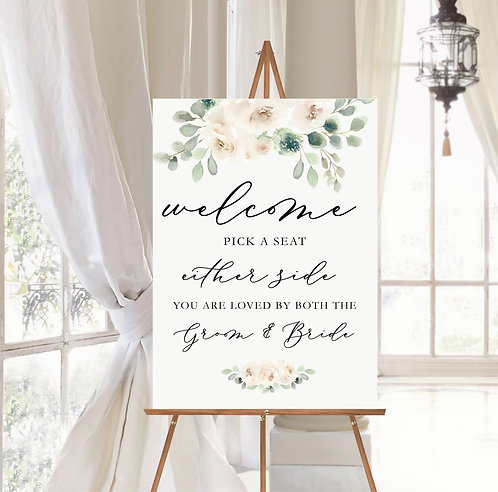Portrait Rebecca A1 Wedding Pick a Seat Sign