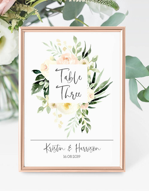 Kristen A5 size white double card table number (unframed)