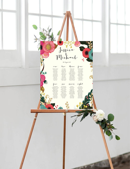 Jessica floral A1 Wedding Seating/Table plan-unframed