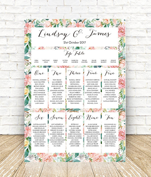 Lindsay floral A1 Wedding Seating/Table plan-unframed