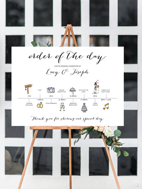 Personalised A3 Wedding Time line/Order of Day Guest information sign- UNBACKED