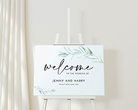 Landscape A2 Jenny Wedding Welcome Sign