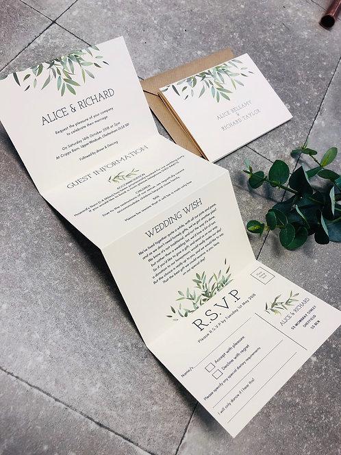 Alice Botanical Greenery Wedding Invitation Sample