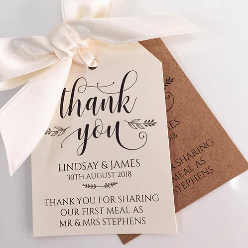18 'Thank you for sharing our first meal' Wedding/favour tags
