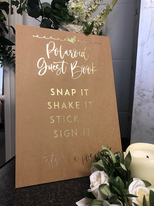 A3 Gold foil printed Polaroid guest book sign for weddings/parties   - BACKED
