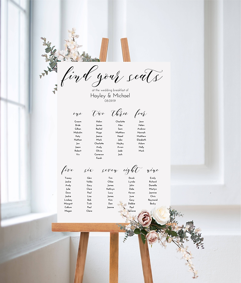 Hayley A1 Wedding Seating/Table plan