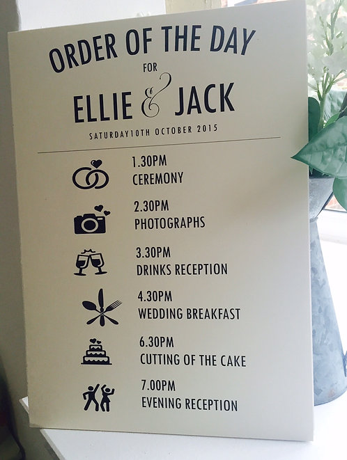Rustic A3 Wedding Order of Day Sign with 6 events - UNBACKED