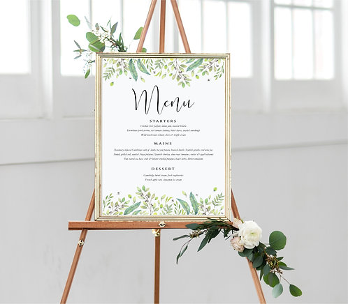 A3 unframed portrait 'Menu' Wedding/Party Sign