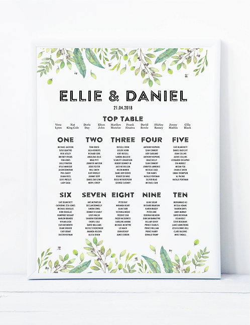 Ellie botanical A2 Wedding Seating/Table plan-unframed