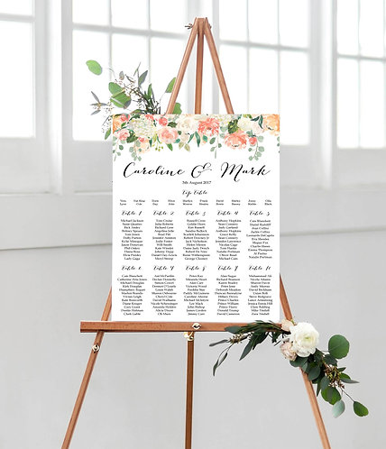 Caroline floral A1 Wedding Seating/Table plan