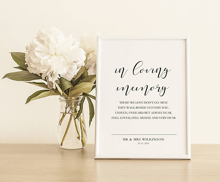 Personalised Unframed  A5 Wedding Sign-In Loving Memory