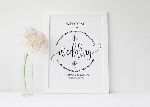 A3 portrait Welcome sign with leaf wreath - UNBACKED