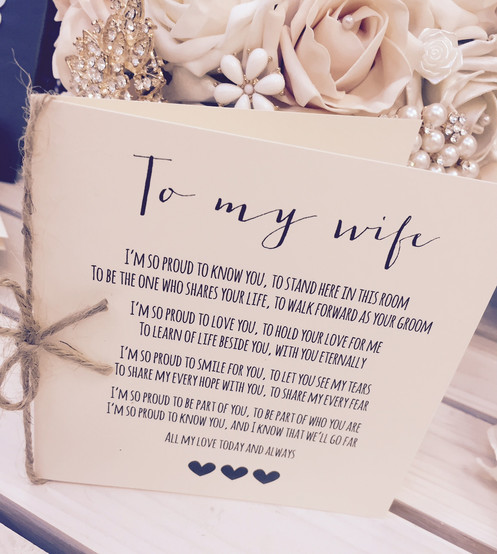'To My Wife' Wedding Day Poem Card-show her how special she is!