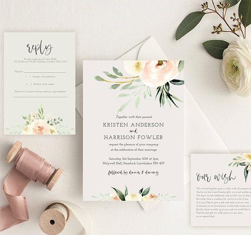 Kristen Wedding Invitation sample including RSVP & Wish Card