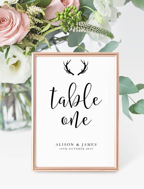 Antler design personalised table number -UNFRAMED