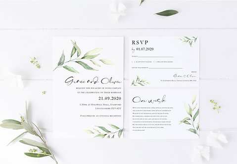 Grace Wedding Invitation sample including RSVP and wish card