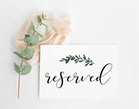 Botanical Tent fold Reserved Sign