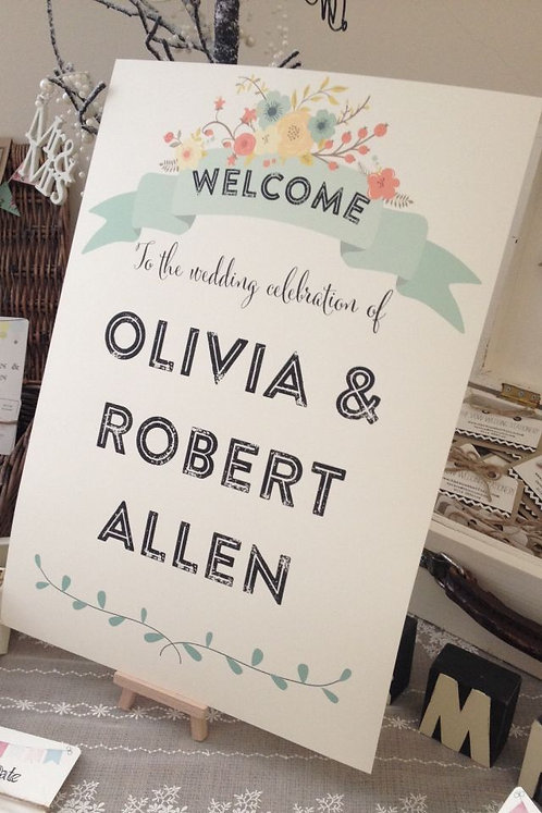 Rustic Floral A3 'Olivia' Welcome sign - BACKED