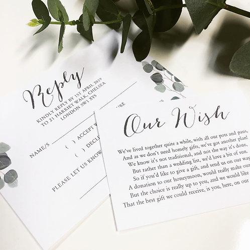 Adele Geometric Leaf print Wedding Invitation, RSVP card & wish card