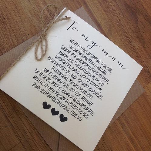 'To My Mum' Wedding Day Poem Card