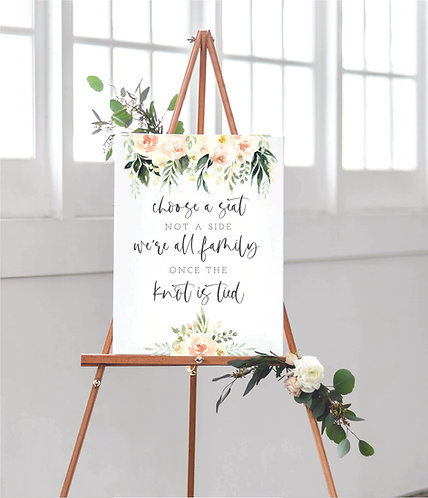 Portrait A2 Kristen Wedding Choose a Seat Sign