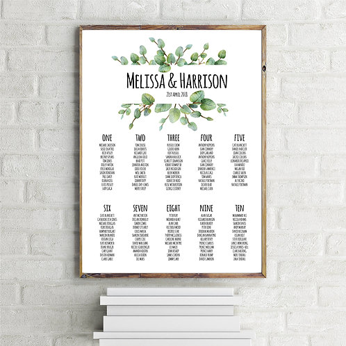 Melissa A1 Wedding Seating/Table plan-unframed