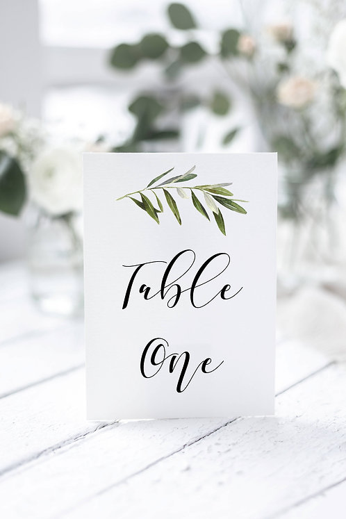 Christina A5 size white single card table number