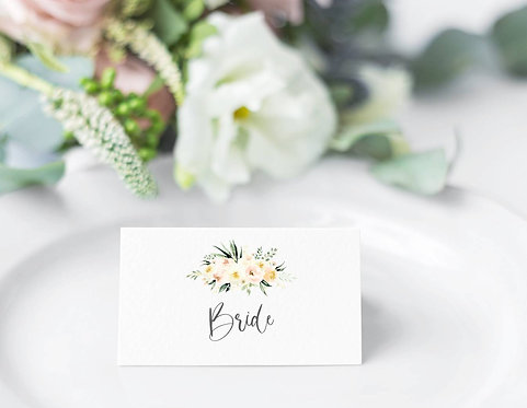 6 x Personalised Kristen Floral Rectangle Place Name Cards