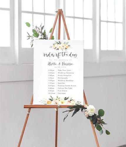 Kristen Floral Portrait A2 Wedding Time line/Order of Day