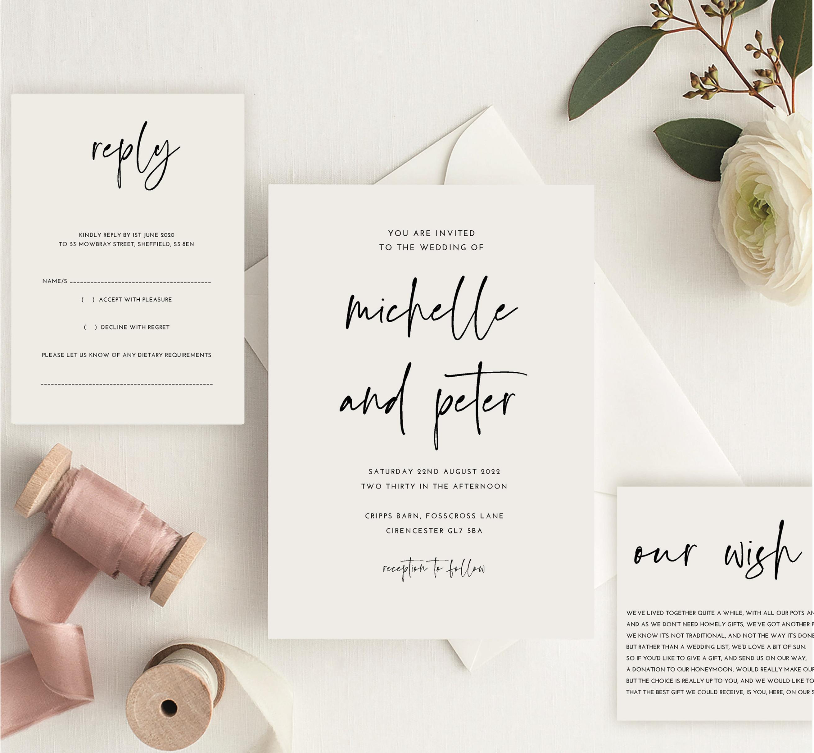 michelle wedding invitation sample including rsvp and wish