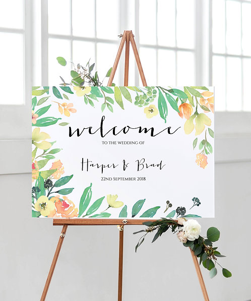 A3 unframed landscape Tuscan Wedding Welcome Sign