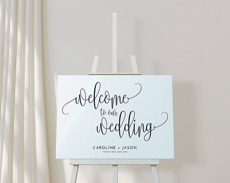 Landscape A2 Caroline Wedding Welcome Sign
