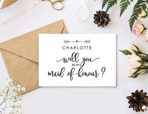 Will you be my Maid of Honour invite card with envelope