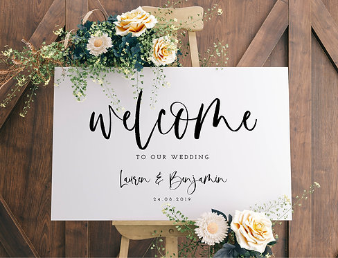 A2 landscape 'Lauren' Wedding Welcome Wedding Sign