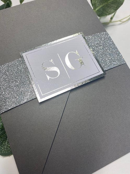 Savannah Silver Glitter Wedding Invitation with Silver Foil print