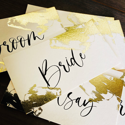 10 x Gold Foil design 'Megan' personalised Wedding name place settings
