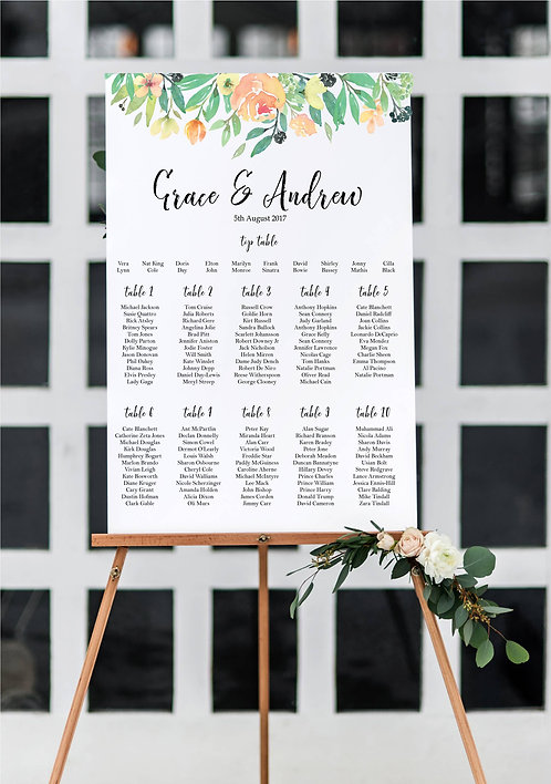 Grace Floral Geometric A2 Wedding Seating/Table plan