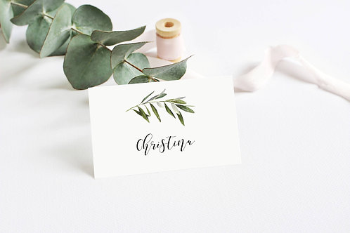 6 x Personalised Christina Botanical Tent Fold Place name cards